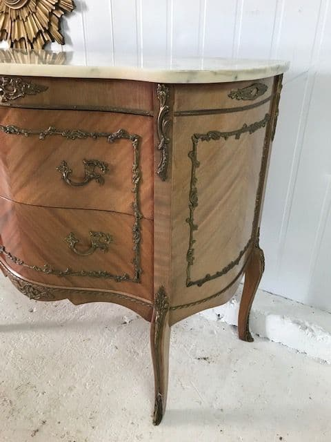 SOLD - Vintage French Marble Top Chest Drawers -b275
